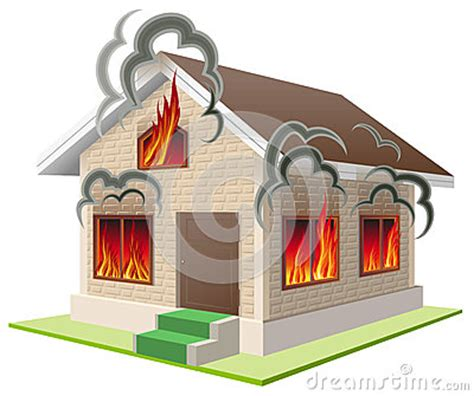 house property insurance stone house burns property insurance against fire home insurance stock vector