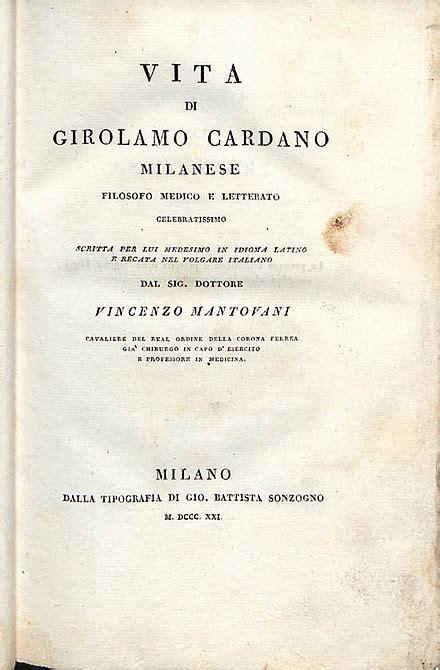 girolamo cardano bibliografia frontespizio dell autobiografia da beic biblioteca