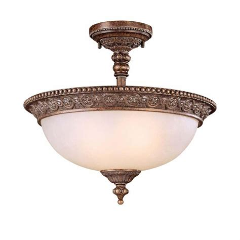 hton bay 2 light bronze semi flush mount light bsg8212