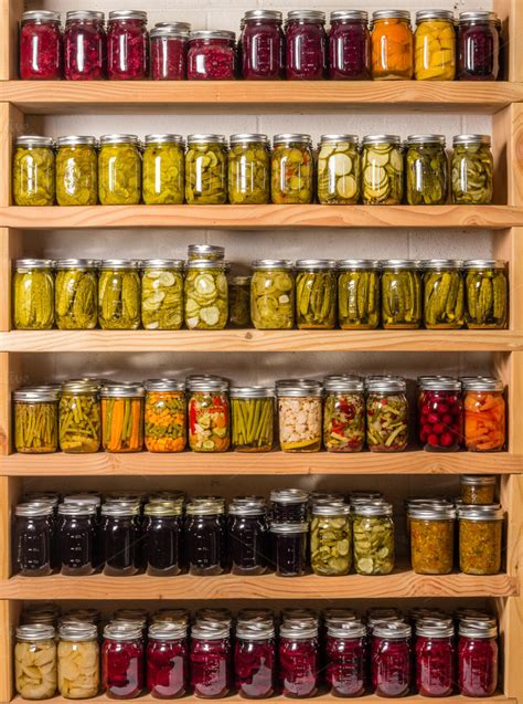 Shelf Of Jarred Food by Pantry Shelves With Jars Of Food Food Drink Photos On
