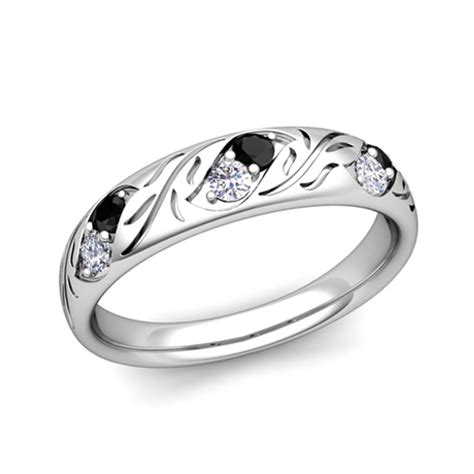 his and hers matching wedding band in platinum black