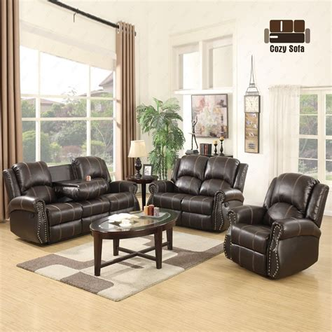 Leather Sofas 3 2 1 Gold Thread 3 2 1 Sofa Set Loveseat Recliner Leather Living Room Brown Ebay