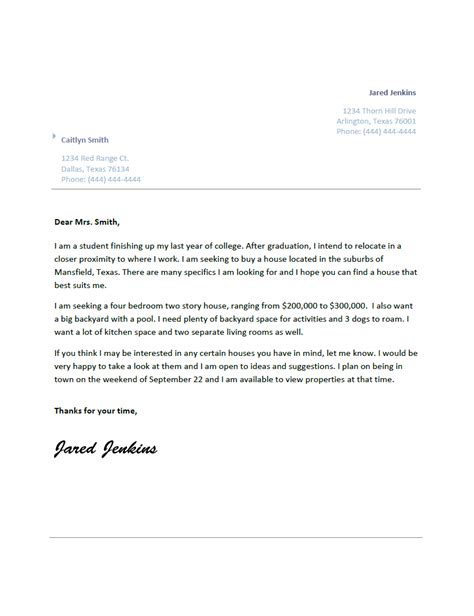 Letter Transmittal Real Estate Real Estate Letter Of Inquiry Jared S Portfolio 1