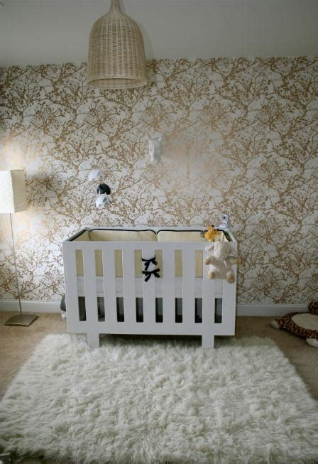 Gold Wallpaper Nursery | white and gold wallpaper contemporary nursery layers
