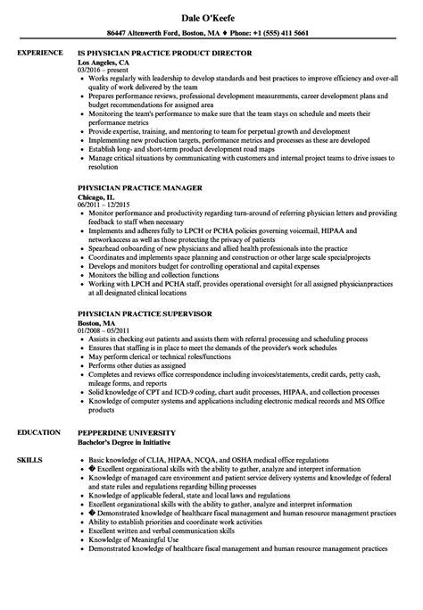 Practice Resume by Physician Practice Resume Sles Velvet