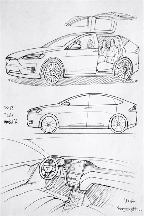 Tesla Model X Sketches by Car Drawing 160112 2013 Tesla Model X Prisma On Paper