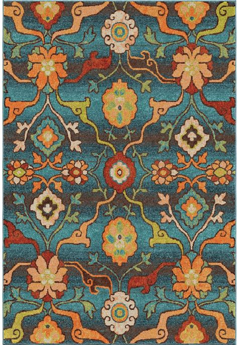 Bright Floral Rugs by Orian Rugs Bright Color Floral Tibet Blue Area Small Rug