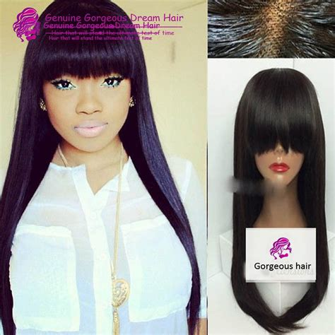 chinese bang wigs for black women 7a peruvian soft silky straight full lace human hair wig