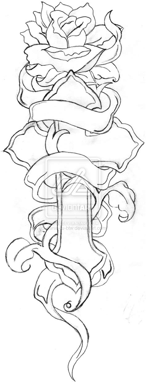 cross tattoo line art cross and rose line drawing by danie ru btw designs