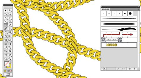 ai create pattern brush create a gold chain pattern brush with illustrator