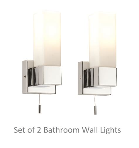 zone 2 bathroom lighting pair of modern chrome switched ip44 bathroom wall light w