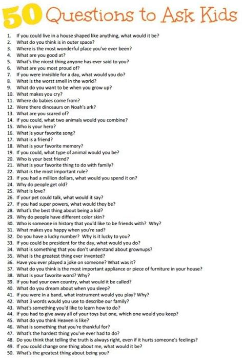 50 questions to ask your child ren school stuff