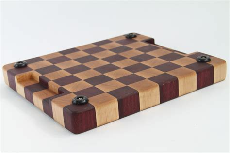 Handcrafted Wood Cutting Boards - handcrafted wood cutting board end grain purpleheart