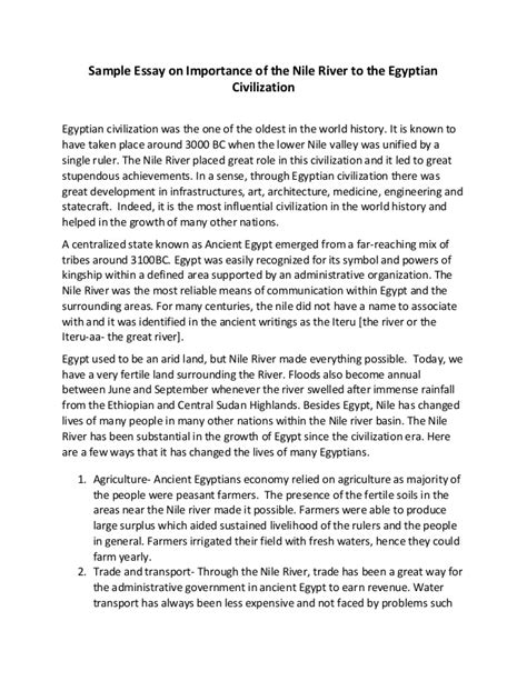 Essay About The by Sle Essay On Importance Of The Nile River To The Civiliza
