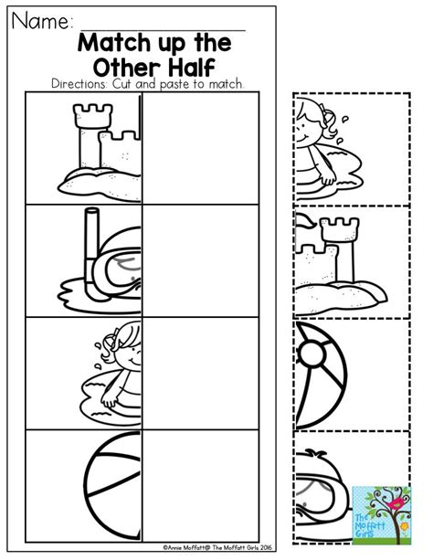 printable preschool summer activities printable preschool worksheets cut and paste worksheets