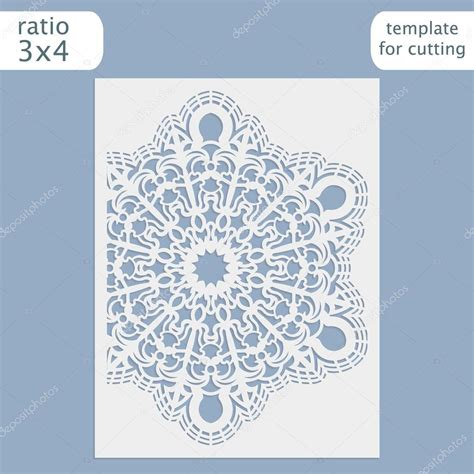 pattern card stock laser cut wedding invitation card template vector cut out