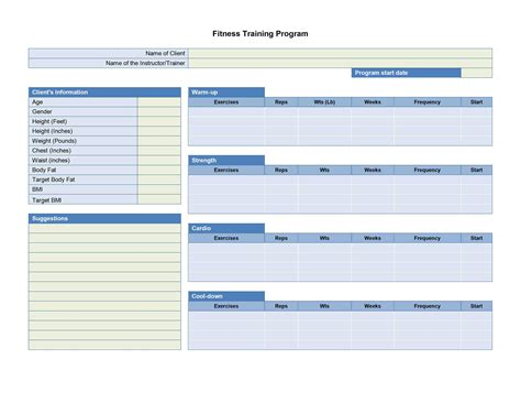 program card fitness template fitness plan template