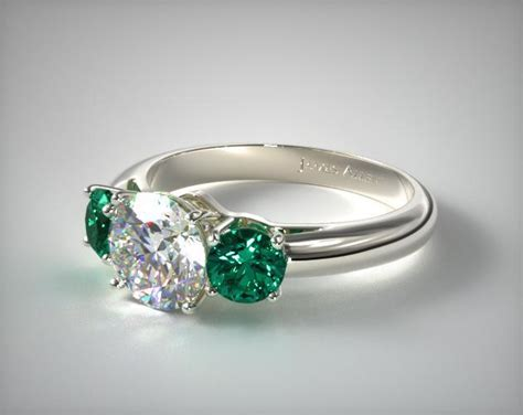 three emerald engagement ring 14k white gold