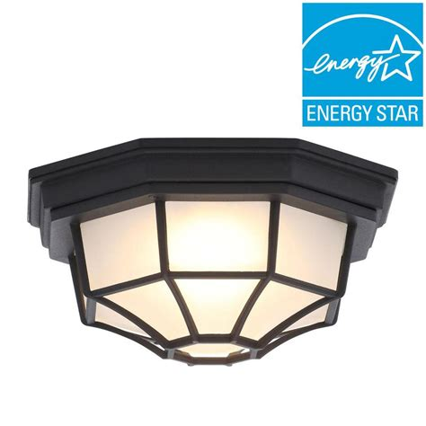 outdoor ceiling mounted security lights hton bay black outdoor led flushmount hb7072led 05