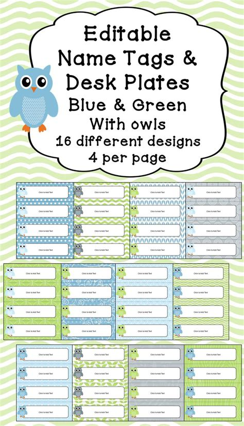 printable owl desk tags editable name tags desk plates in blue green with owls