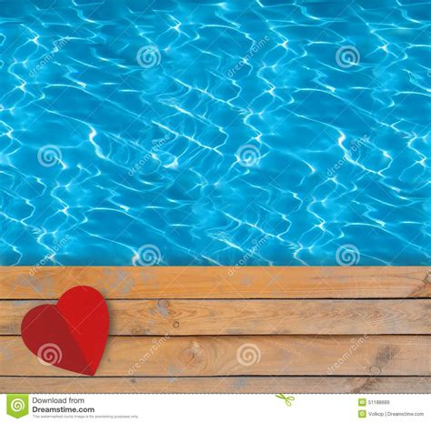 Swimming Essay by Swimming Pool With Blue Clear Water Wooden Deck And Paper Stock Photo Image 51188689