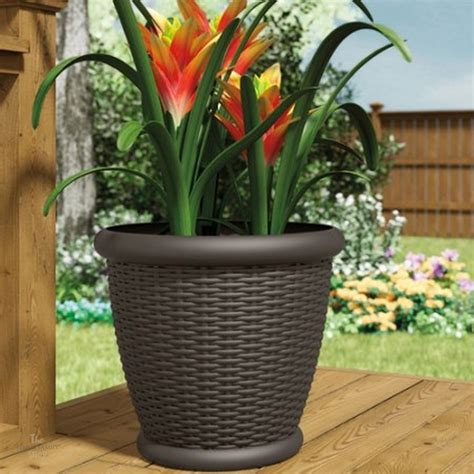 large plastic planters pots outdoor patio resin wicker 22