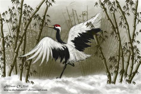 crane painting winter crane trade by darkmoon17 on deviantart