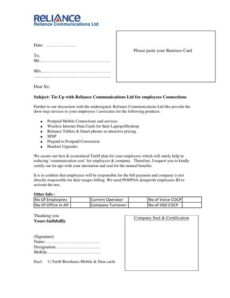 Business Tie Up Letter Format Pdf Tie Up Letter Eoep