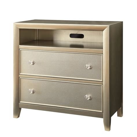 2 Drawer Chest Furniture Furniture Of America Maire 2 Drawer Media Chest In Silver