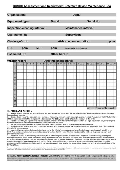 respiratory protection rpd inspection and record sheet