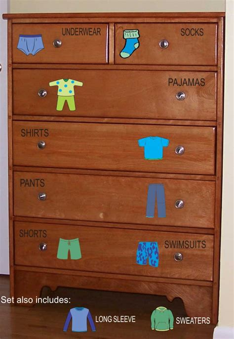 Toddler Boy Dresser dresser clothing decals labels boys room decals dresser