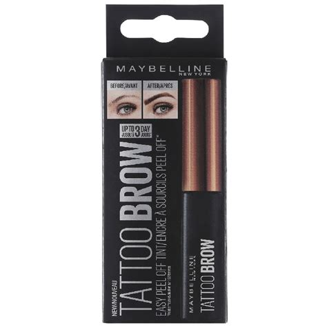 tattoo brow maybelline medium brown maybelline tattoo brow peel off tint 4 6 gr medium brown