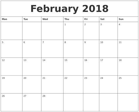 printable monthly calendar starting monday february 2018 free printable monthly calendar