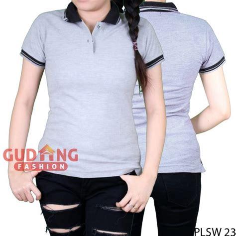 Kaos Polo Wanita Plsw 01 kaos polos pendek berkerah wanita cotton pique abu