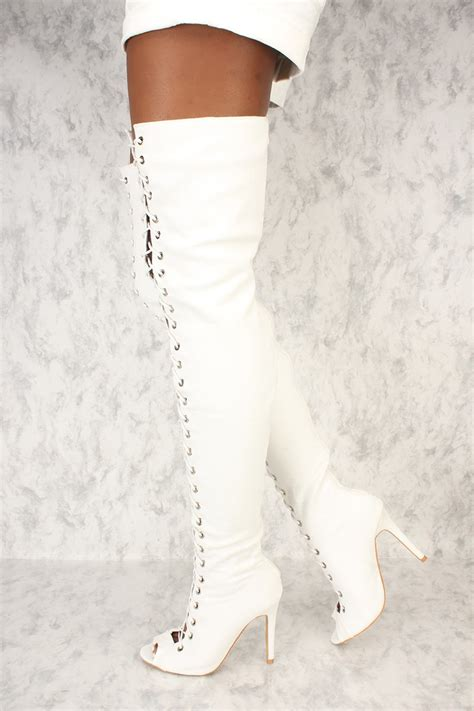 white denim front lace up high thigh high heel ami