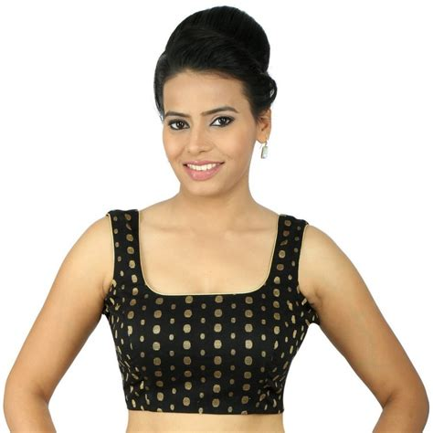 buy pretty black square neck blouse with sleeve in gold polka dots in cotton based