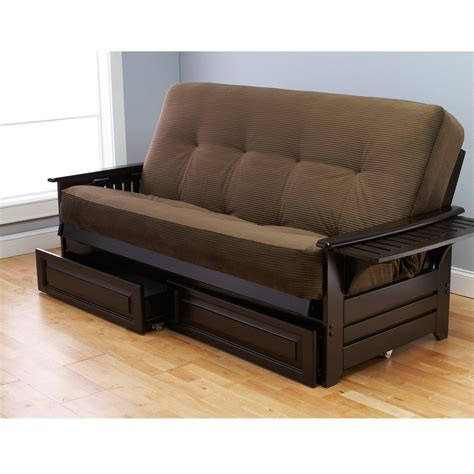 wooden futon with drawers quot espresso wood futon frame drawers mattress sofa quot