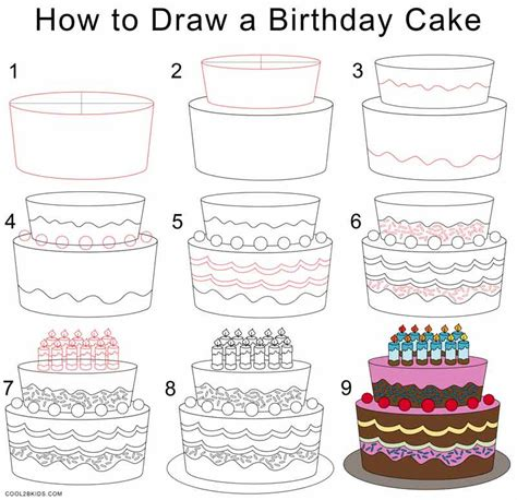 how to draw a step by step how to draw a birthday cake step by step pictures cool2bkids