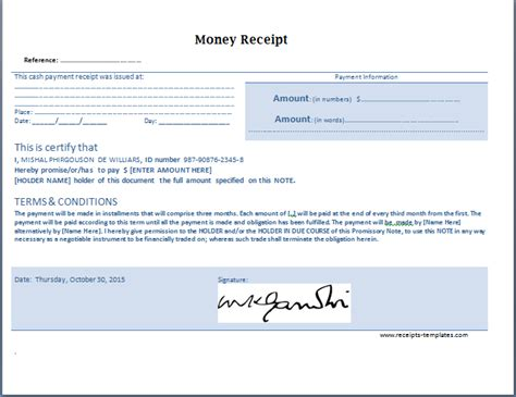 doc 644497 money receipt template free bizdoska com