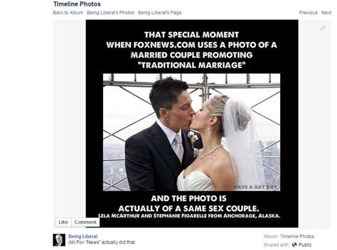 Same Sex Marriage Meme - facebook meme fox news topped opposite sex marriage
