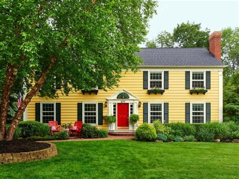 yellow house with red door photo page hgtv