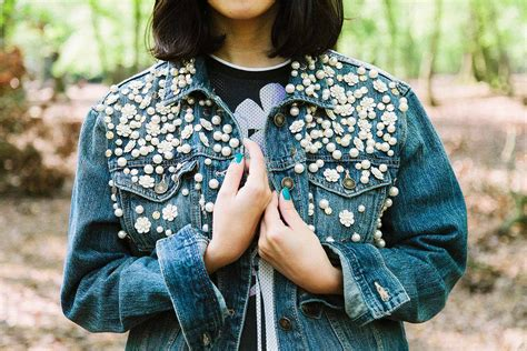 diy denim jacket from forever 21 x style slicker diy festival encrusted denim