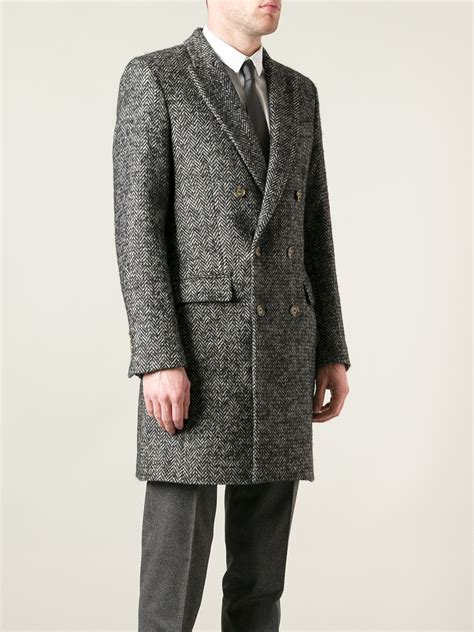 tweed breasted coat lyst ami tweed breasted coat in gray for
