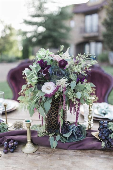 aubergine and mint chateau wedding floral centerpieces