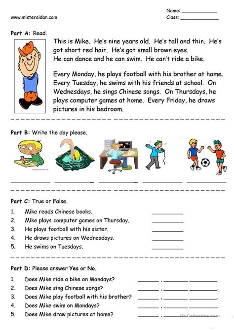 s big week a story about living with noonan books days of the week easy reading comprehension worksheet