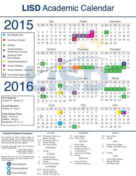 School District Calendar 2016 Lisd Calendar 2016 Monthly Calendar 2017