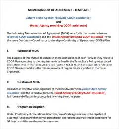 Template For Memorandum Of Agreement memorandum of agreement 9 free pdf doc download