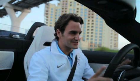 video: roger federer drives mercedes benz sls amg roadster