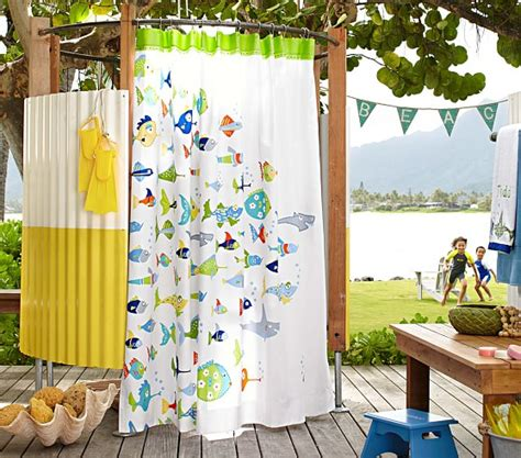 kids ocean shower curtain funny fish shower curtain pottery barn kids
