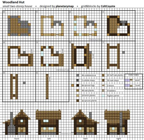 minecraft house blueprints layer by layer woodland hut small minecraft house blueprint by